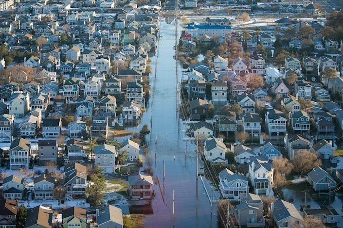 Aerial view of the flood damage at Bethany Beach, Del., on Sunday, Jan. 24, 2016.