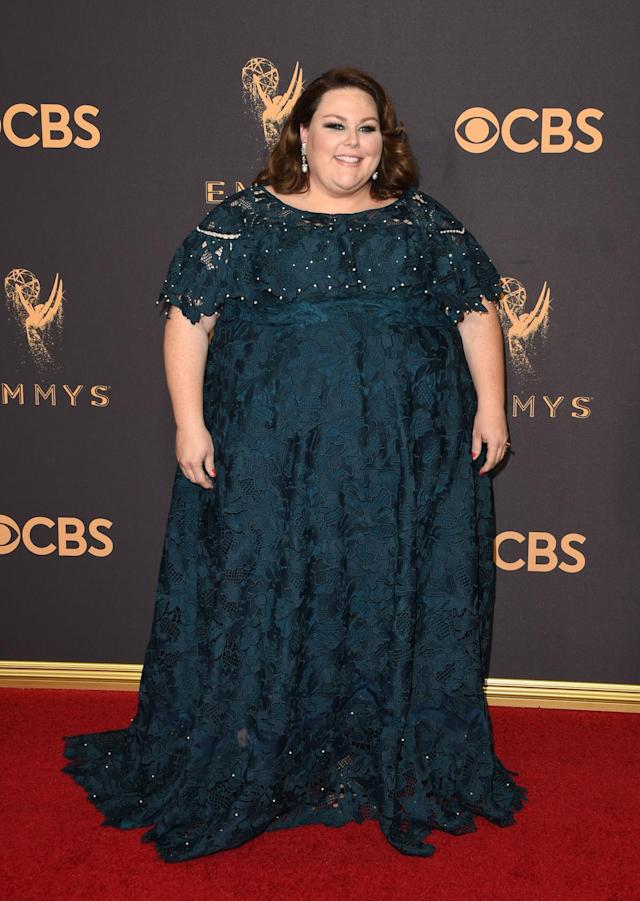 <p>In a custom Lela Rose dress, there's no doubt that Metz looked like a true star. The <em>This Is Us</em> star reflected on her difficult journey in Hollywood with E! correspondent Jason Kennedy. (Photo: Getty Images) </p>