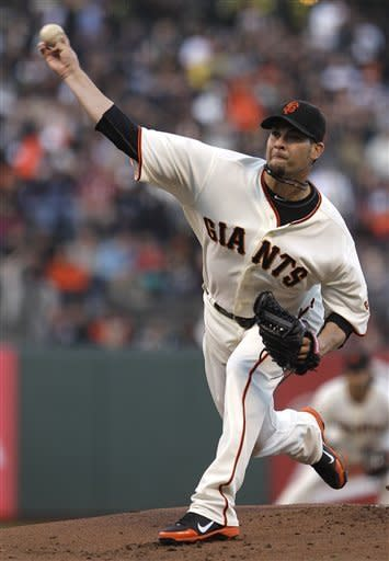 San Francisco Giants' Ryan Vogelsong works against the Arizona Diamondbacks during the first inning of a baseball game Tuesday, May 29, 2012, in San Francisco. (AP Photo/Ben Margot)