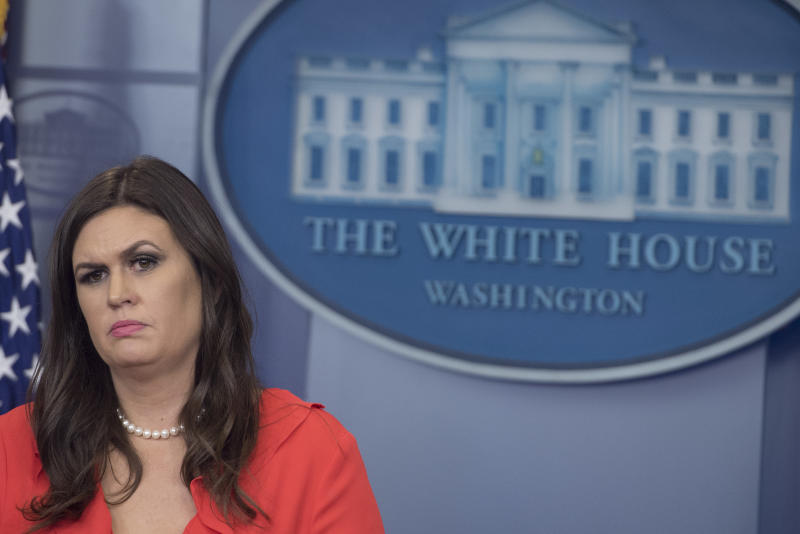 At Tuesday's briefing, White House Press Secretary Sarah Huckabee Sanders defended President Trump by citing the poor poll numbers of his GOP critics. (SAUL LOEB via Getty Images)