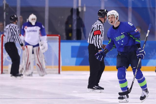GANGNEUNG, SOUTH KOREA – FEBRUARY 17: Ziga Jeglic #8 of Slovenia celebrates after scoring the game winning goal in a shootout against Slovakia during the Men's Ice Hockey Preliminary Round on Day 8 of the PyeongChang 2018 Winter Olympic Games. (Getty Images)