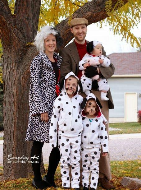"""<p>It can be fun to play the bad guy sometimes! Be the Cruella de Vil to your little pups.</p><p><strong>Get the tutorial at <a href=""""http://www.our-everyday-art.com/2013/10/diy-family-halloween-costume-101.html"""" rel=""""nofollow noopener"""" target=""""_blank"""" data-ylk=""""slk:Our Everyday Art"""" class=""""link rapid-noclick-resp"""">Our Everyday Art</a>.</strong> </p>"""