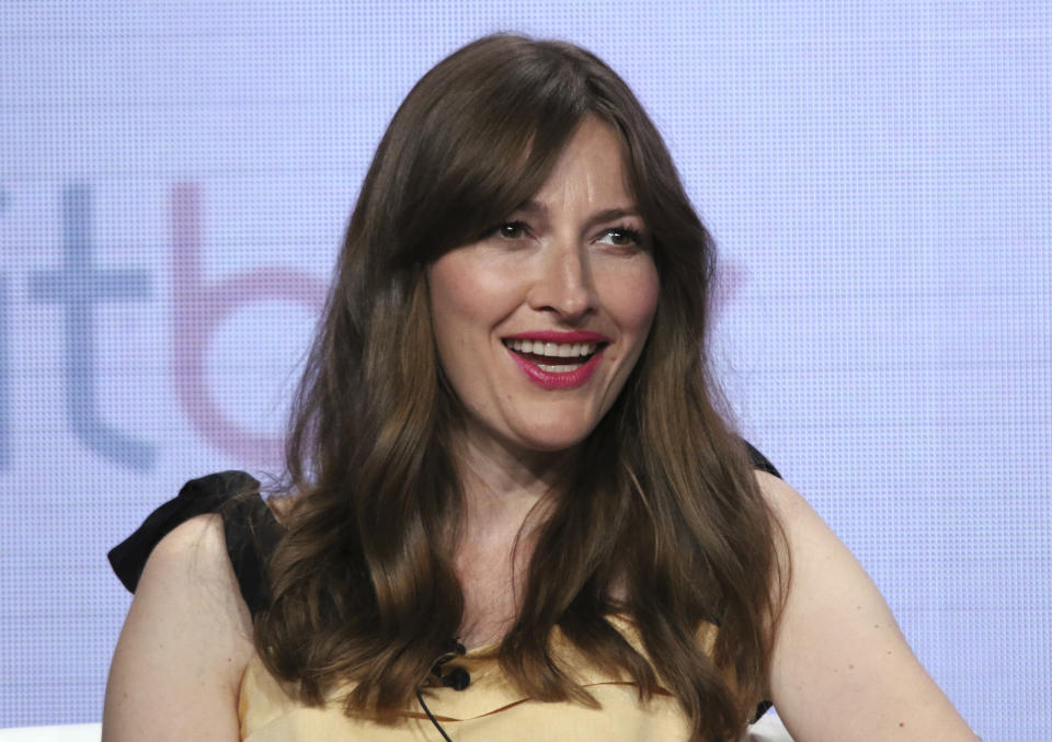 """Kelly Macdonald participates in Britbox's """"The Victim"""" panel at the Television Critics Association Summer Press Tour on Thursday, July 25, 2019, in Beverly Hills, Calif. (Photo by Willy Sanjuan/Invision/AP)"""
