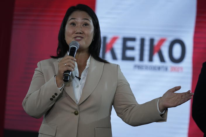 Presidential candidate Keiko Fujimori speaks at a press conference in Lima, Peru, Thursday, June 10, 2021. As one claims victory and the other electoral fraud, tensions continue to grow around Peru's presidential election run-off vote count with just decimals of percentage points separating left leaning Pedro Castillo from rightwing populist rival Keiko Fujimori. (AP Photo/Martin Mejia)