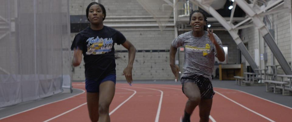 Andraya Yearwood (right) and teammate Terry Miller (left).