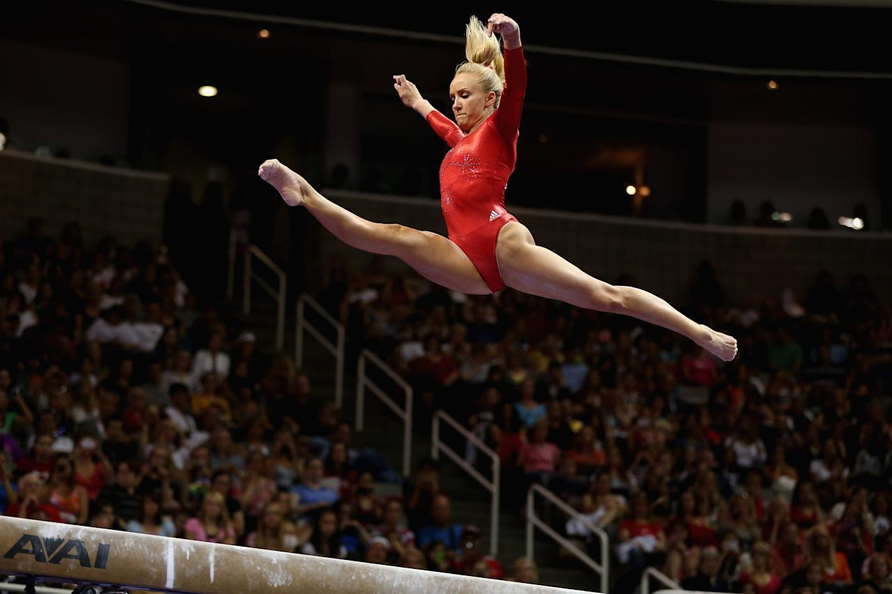 SAN JOSE, CA - JULY 01:  Nastia Liukin competes on the beam during day 4 of the 2012 U.S. Olympic Gymnastics Team Trials at HP Pavilion on July 1, 2012 in San Jose, California.  (Photo by Ezra Shaw/Getty Images)