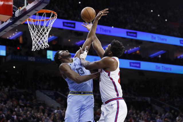 Philadelphia 76ers' Joel Embiid, right, goes up for a shot against Memphis Grizzlies' Jaren Jackson Jr. during the first half of an NBA basketball game Friday, Feb. 7, 2020, in Philadelphia. (AP Photo/Matt Slocum)