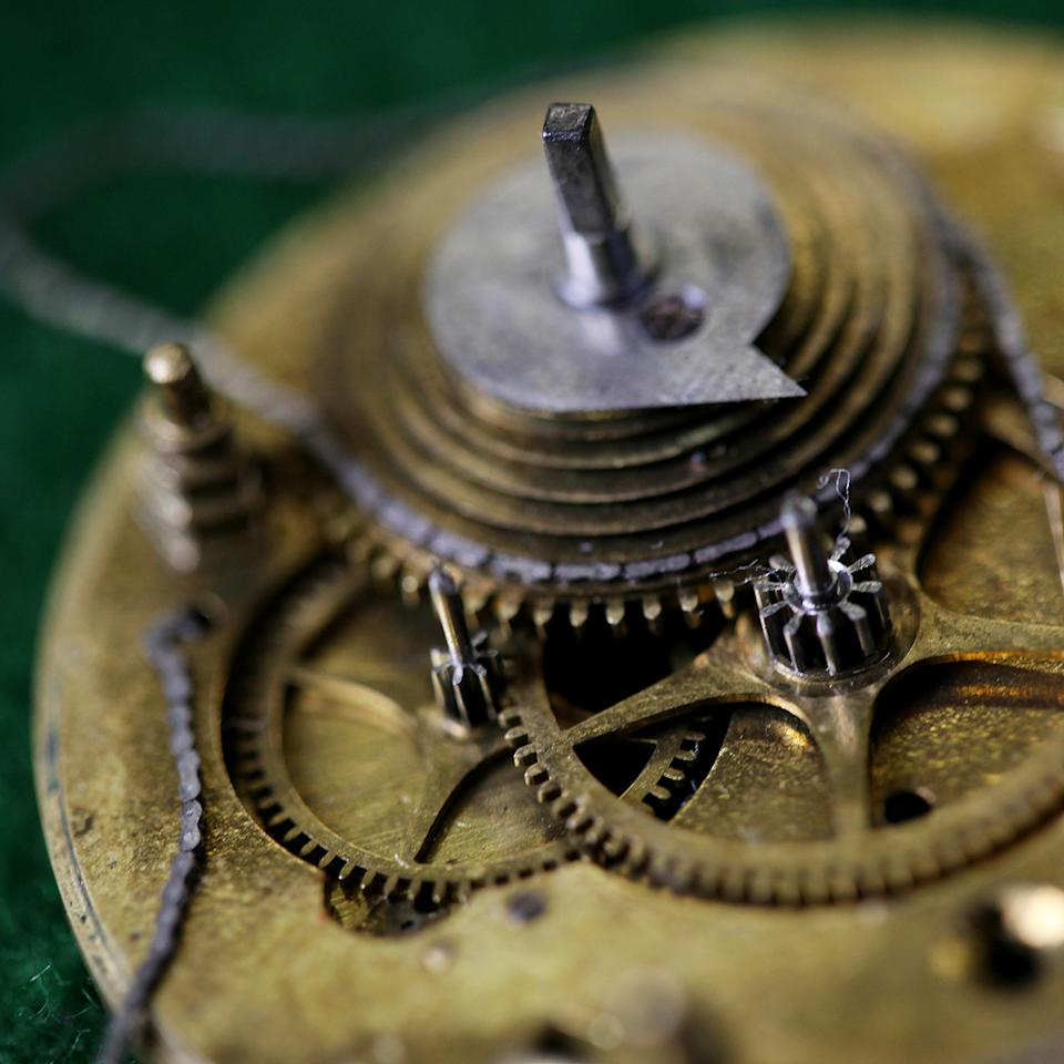 Detail of the inner-workings of a 1700's Fusee pocket watch. Shot at Mike Conroy's Ye Old Watch shop in Portsmouth.
