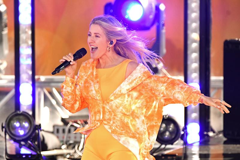 "NEW YORK, NEW YORK - JUNE 14: Singer Ellie Goulding performs on ABC's ""Good Morning America"" at SummerStage at Rumsey Playfield, Central Park on June 14, 2019 in New York City. (Photo by Mike Coppola/Getty Images)"