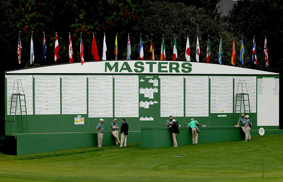 AUGUSTA, GEORGIA - NOVEMBER 13:  A general view of the scoring board next to the first hole during the first round of the Masters at Augusta National Golf Club on November 13, 2020 in Augusta, Georgia. (Photo by Patrick Smith/Getty Images)