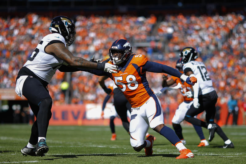 Von Miller got his first sack of the season, and also the first sack of the season for the Denver Broncos' defense. (Getty Images)