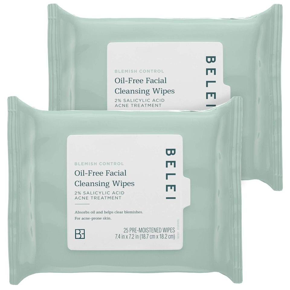 "<h3><strong>Blemish Control Oil-Free Facial Cleansing Wipes</strong></h3> <br>""I'm not a huge believer in facial cleansing wipes, mostly because I love a good double cleanse and find the act of washing my face to be somewhat calming. But having this in my bag pre-SoulCycle might have actually saved my life. Not only did it wipe away all my makeup, it left my skin feeling refreshed, and gave me peace of mind that my post-cycling sweat wouldn't break me out *too bad*."" — Bullion<br><br><strong>Belei</strong> Oil-Free Blemish Control Facial Cleansing Wipes, $, available at <a href=""https://amzn.to/3fMAolt"" rel=""nofollow noopener"" target=""_blank"" data-ylk=""slk:Amazon"" class=""link rapid-noclick-resp"">Amazon</a><br>"