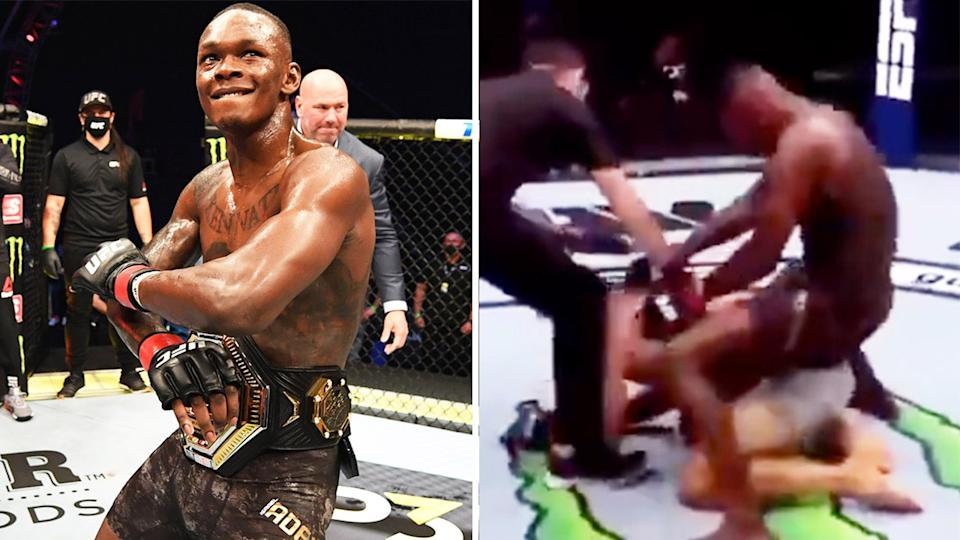 Israel Adesanya (pictured left) celebrating with the belt and (pictured right) gesturing on top of Paulo Costa at UFC 253.