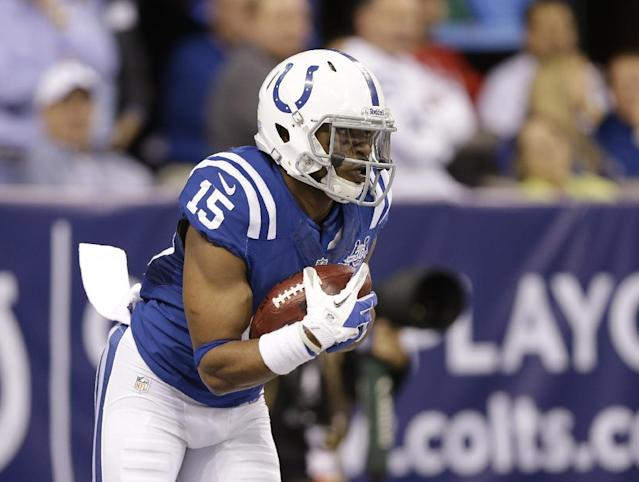 Indianapolis Colts' LaVon Brazill (15) runs during the first half of an NFL football game against the Jacksonville Jaguars Sunday, Dec. 29, 2013, in Indianapolis. (AP Photo/Michael Conroy)
