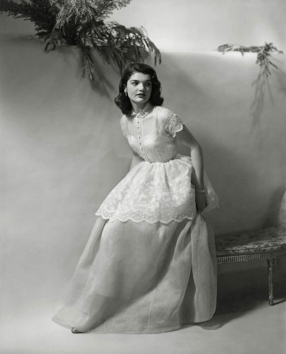 <p>Jackie, the daughter of a wealthy New York Stock Broker, at 18 posing for <em>Vogue</em> magazine. </p>