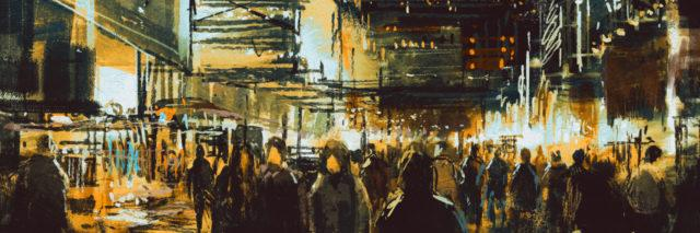 watercolor of a city at night with crowds of people in the street