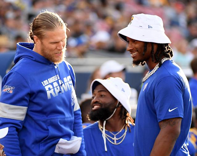 Clay Matthews and Todd Gurley during happier times with the Rams. (Harry How/Getty Images)