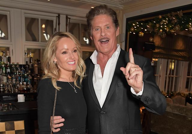 "Hayley Roberts Hasselhoff and David Hasselhoff attend the gala party to celebrate David Hasselhoff joining the cast of the West End production of ""9 To 5: The Musical"" at The Savoy Theatre on December 11, 2019 in London, England. (Photo by David M. Benett/Dave Benett/Getty Images)"