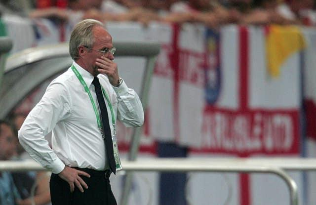 Sven Goran Eriksson watches his England team in action during the 2006 World Cup