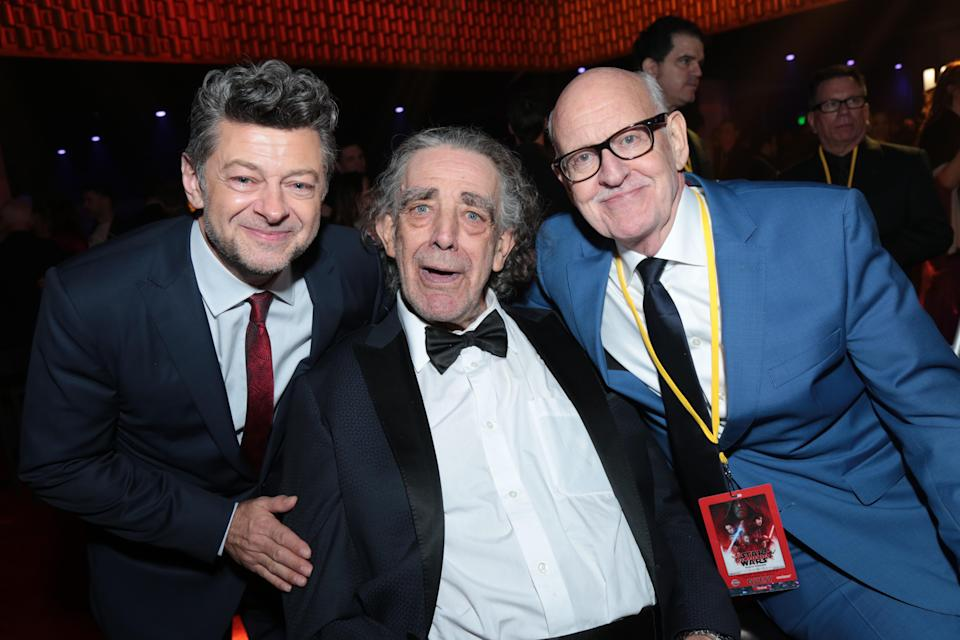 Andy Serkis (Snoke), Peter Mayhew (Chewbacca), and Frank Oz (Yoda). (Photo: Alex J. Berliner/ABImages)