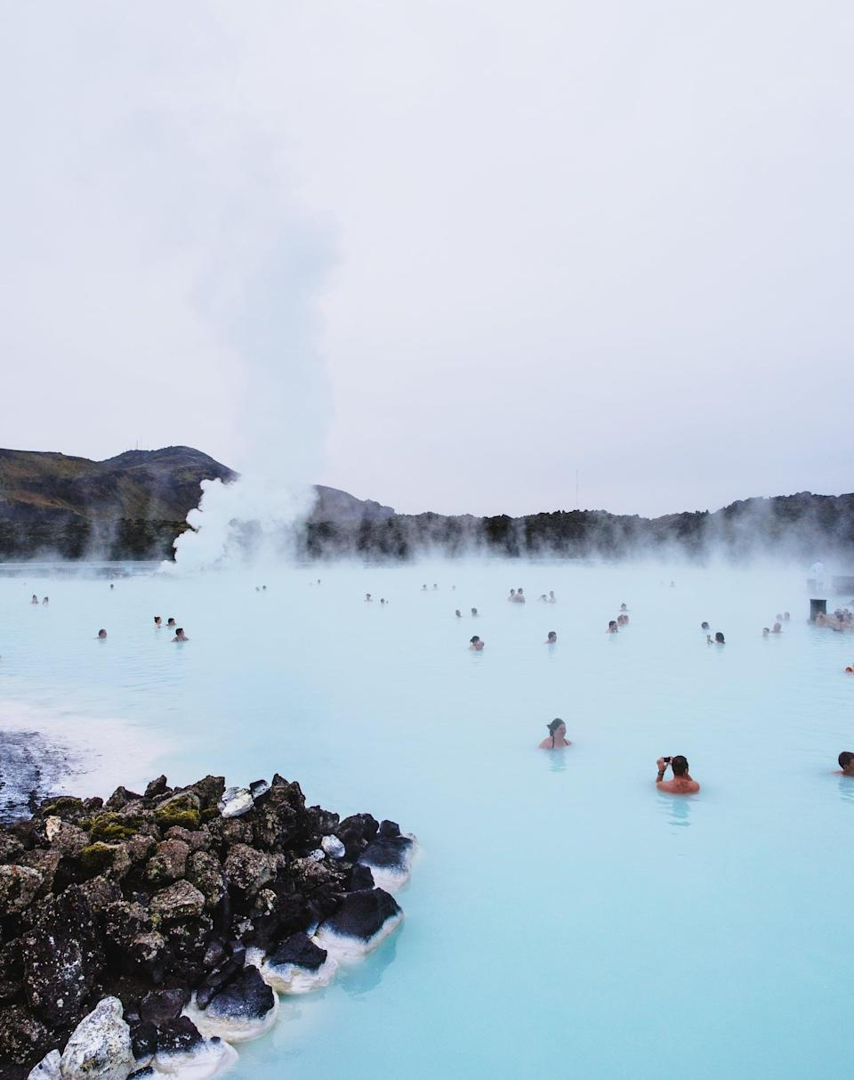 """<p>Fun fact: the <a href=""""https://www.popsugar.com/smart-living/Things-Do-Blue-Lagoon-Iceland-43149629"""" class=""""link rapid-noclick-resp"""" rel=""""nofollow noopener"""" target=""""_blank"""" data-ylk=""""slk:Blue Lagoon is actually not a natural wonder"""">Blue Lagoon is actually not a natural wonder</a>. The water averages 98 to 102 degrees and is said to have curative benefits. </p>"""