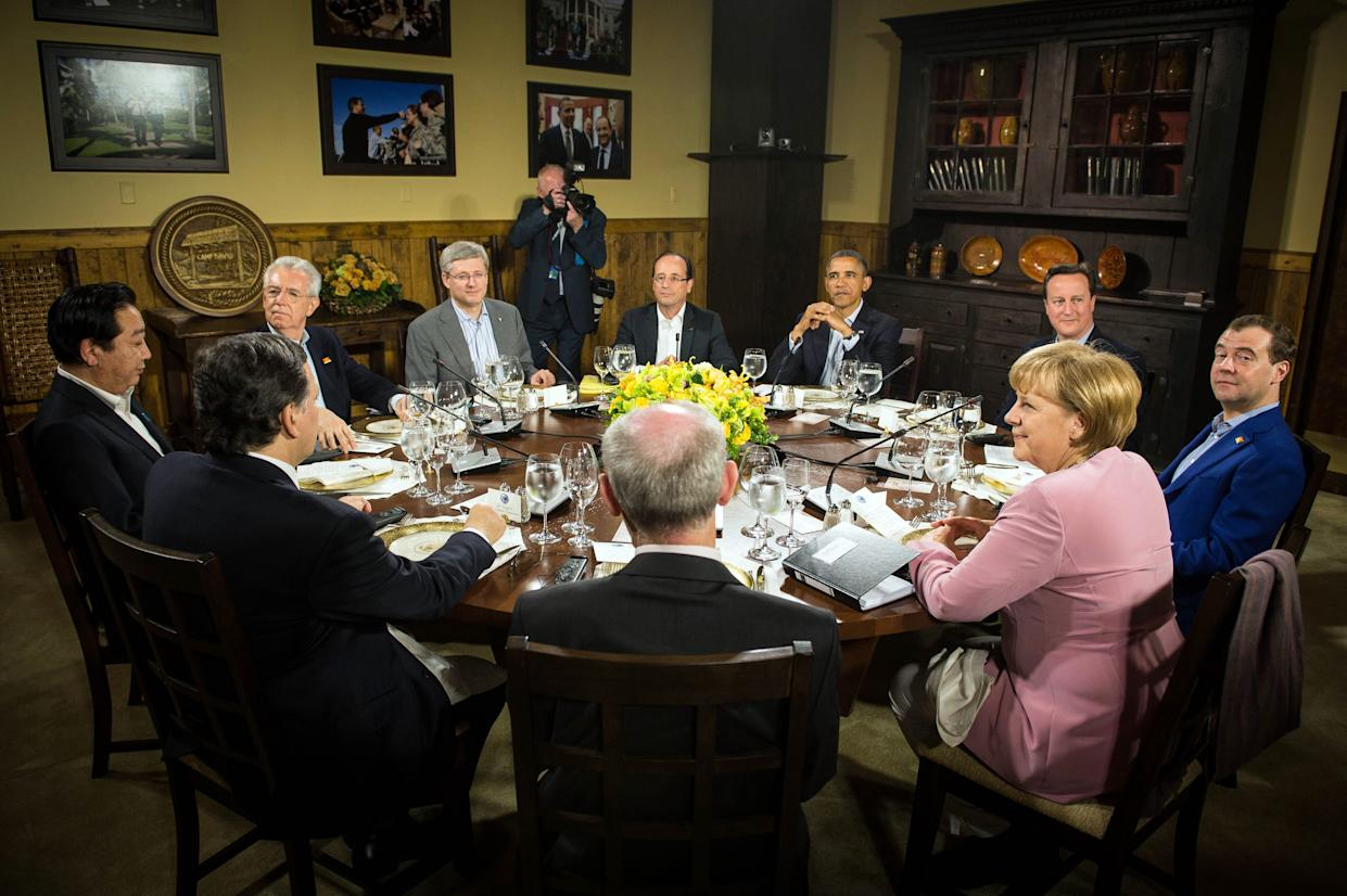 World leaders meet at Camp David for the G-8 summit in 2012.