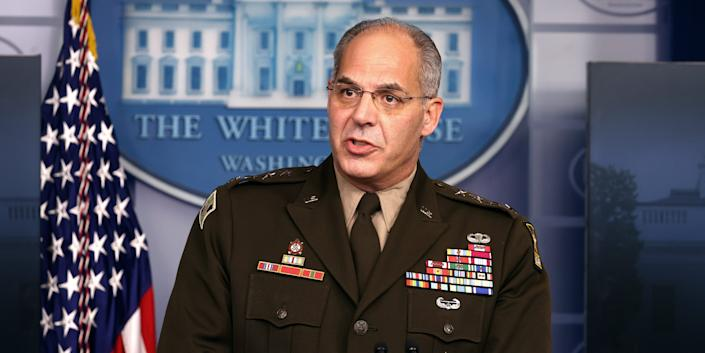 General Gustave Perna, chief operating officer for the Defense Department's Project Warp Speed, speaks during a White House Coronavirus Task Force press briefing