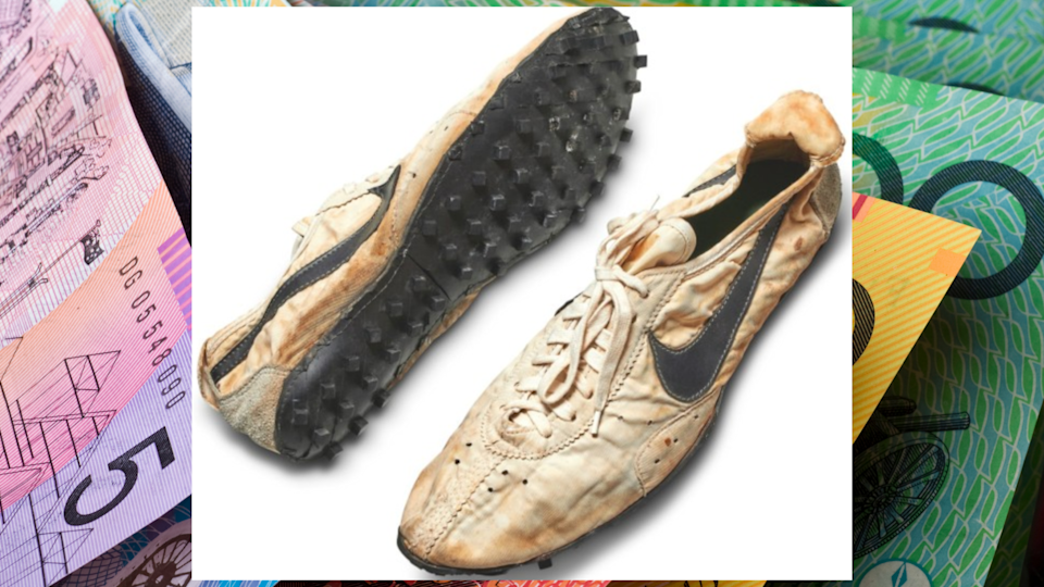 Pictured: Rare NIke sneakers which will sell at Sotheby's auction. Images: Sotheby's, Getty