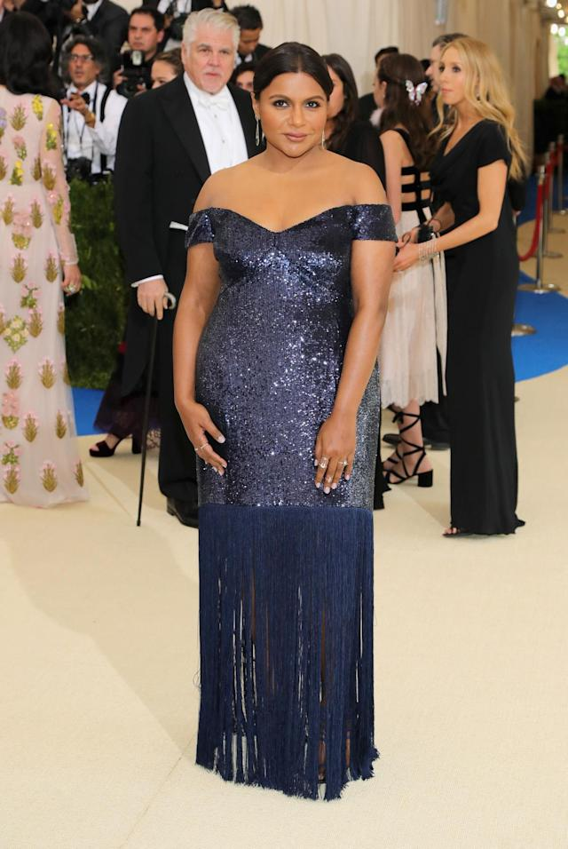 <p>The actress showed off her shoulders in a blue sequin gown with a fringe trim. (Photo by Neilson Barnard/Getty Images) </p>