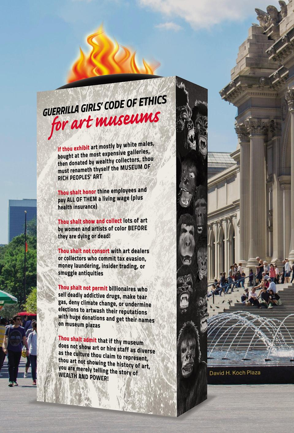 The ethics of how museums are run are part of their campaign (Guerrilla Girls)