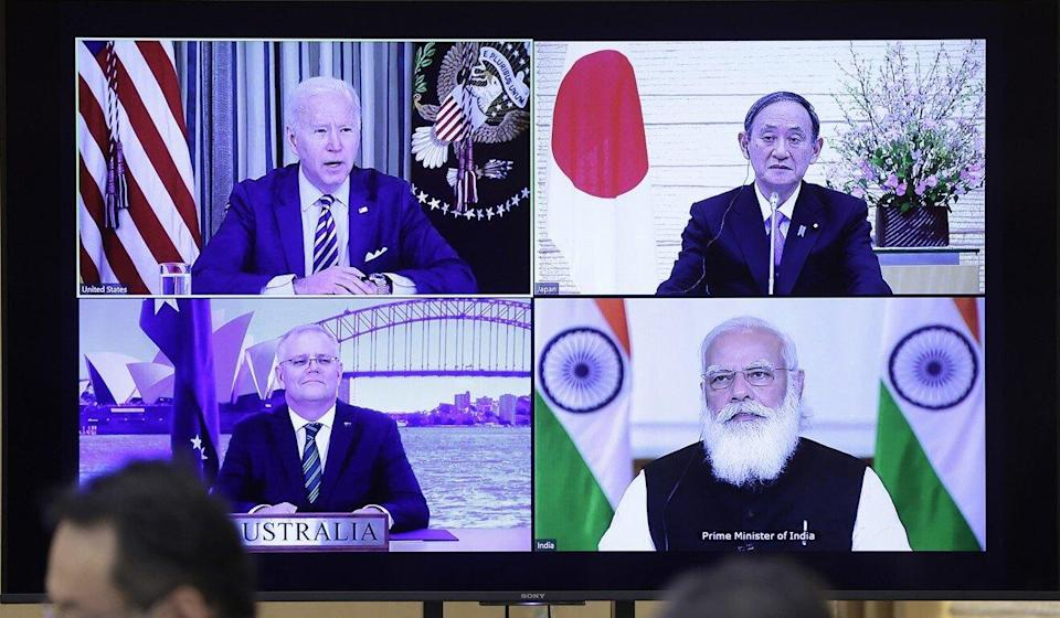 Clockwise from top left, US President Joe Biden; Japanese Prime Minister Yoshihide Suga; Indian Prime Minister Narendra Modi; and Australian Prime Minister Scott Morrison during the first videolinked meeting of the Quad on March 12, 2021. Photo: Bloomberg
