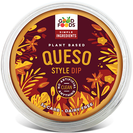 """<p><strong>Good Foods</strong></p><p>goodfoods.com</p><p><a href=""""https://goodfoods.com/products/plant-based-dips/queso-style-dip/"""" rel=""""nofollow noopener"""" target=""""_blank"""" data-ylk=""""slk:Shop Now"""" class=""""link rapid-noclick-resp"""">Shop Now</a></p><p>This plant-based queso is super creamy and makes a delicious dip for everything from crackers, to tortilla chips, to sliced veggies. Plus, it's one of the cleanest products in the game and boasts a seriously impressive (and simple) ingredients list. With cauliflower as ingredient numero-uno, it's a pick you can truly feel good about. <br></p>"""