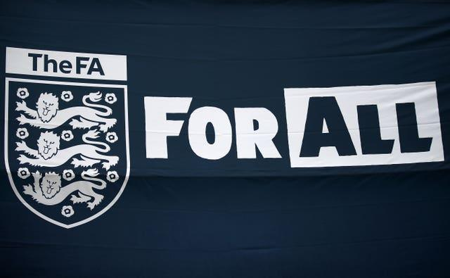 A flag of The FA For All outside Wembley Stadium