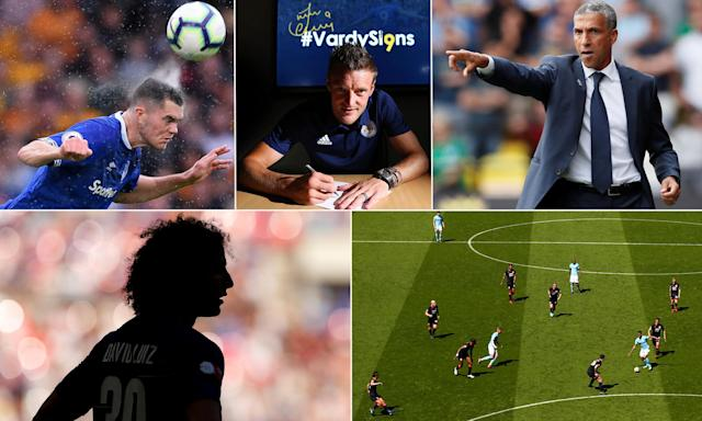 Clockwise from top left: Everton's Michael Keane; Leicester's Jamie Vardy signs a new contract; Brighton's Chris Hughton; Huddersfield seek another clean sheet at Manchester City; and David Luiz could have his hands full.