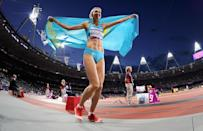 LONDON, ENGLAND - AUGUST 05: Olga Rypakova of Kazakhstan celebrates winning gold in the Women's Triple Jump on Day 9 of the London 2012 Olympic Games at Olympic Stadium on August 5, 2012 in London, England. (Photo by Pascal Le Segretain/Getty Images)