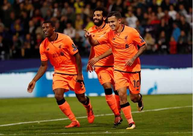 Soccer Football - Champions League - Maribor vs Liverpool - Ljudski vrt, Maribor, Slovenia - October 17, 2017 Liverpool's Philippe Coutinho celebrates scoring their second goal with Mohamed Salah and Georginio Wijnaldum Action Images via Reuters/Paul Childs