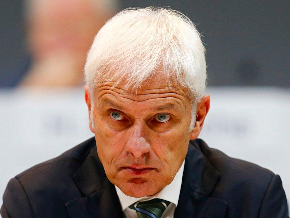 Porsche CEO Matthias Muller attends the Porsche annual meeting in Stuttgard, Germany, May 13, 2015. Volkswagen's controlling Porsche and Piech families have pledged to maintain their engagement in Europe's largest automaker despite last month's dramatic leadership dispute.