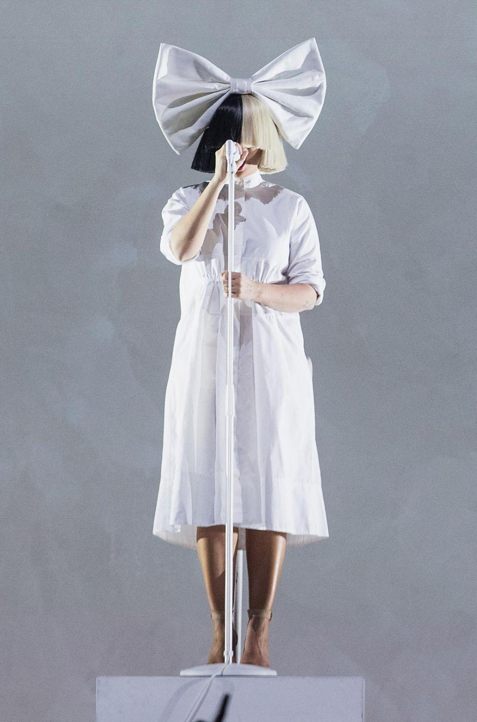 Sia (here performing in September 2016) had heard someone was trying to sell nude photos of her so she took action. Source: Getty