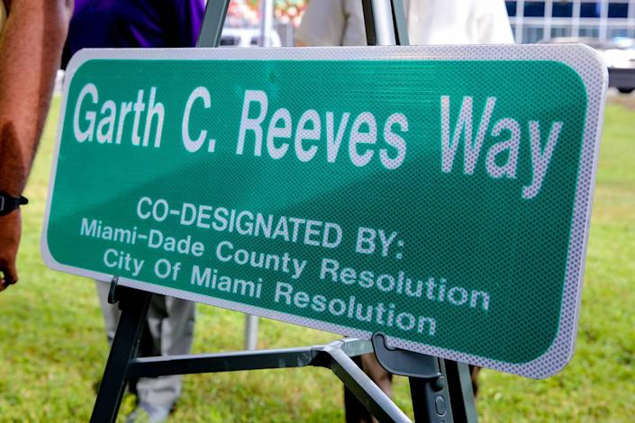 The street sign that designated a portion of Northwest Sixth Street in Overtown as Garth C. Reeves Way, in a ceremony held on Nov. 3, 2017.