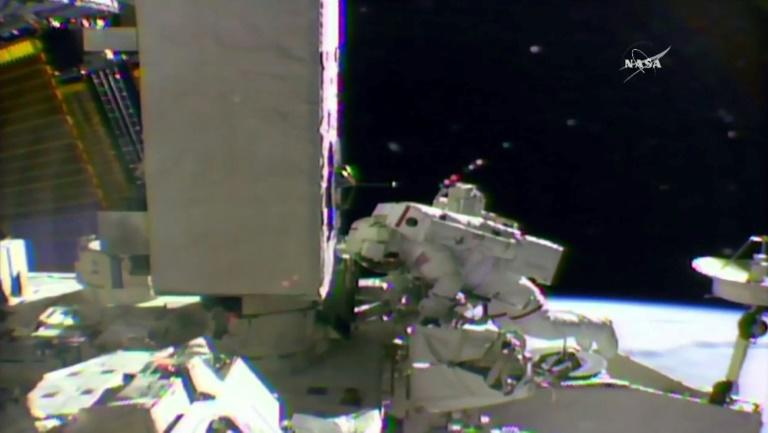 NASA astronaut Shane Kimbrough seen working on the outside of the International Space Station on March 24, 2017, in a framegrab taken from NASA TV