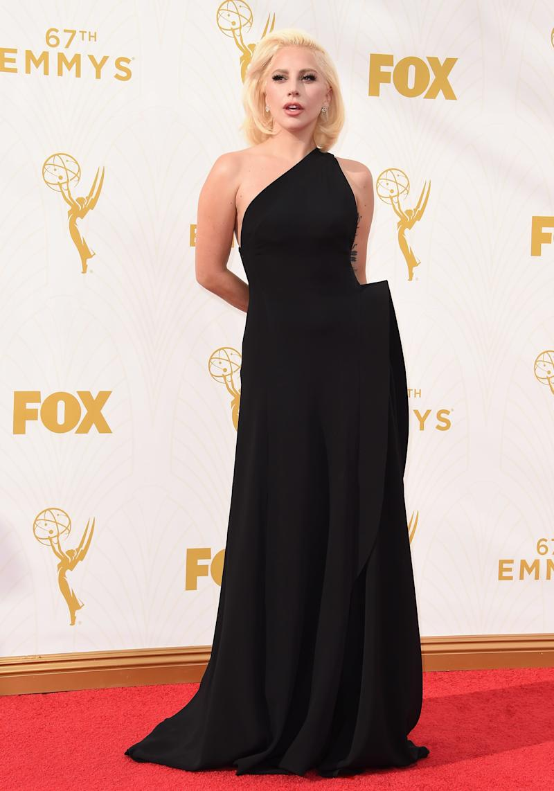 Lady Gaga, in Brandon Maxwell, arrives at the 67th Annual Primetime Emmy Awards at Microsoft Theater on September 20, 2015 in Los Angeles, California.