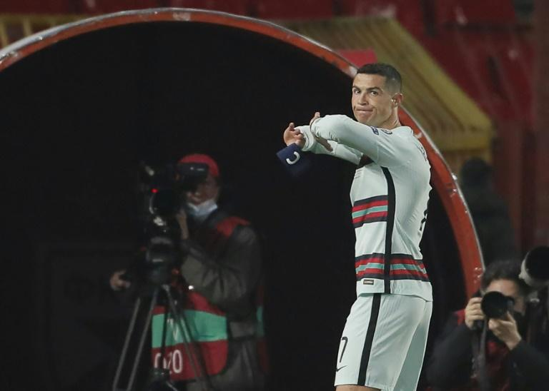Ronaldo threw his captain's armband to the ground in anger after being denied a late winner against Serbia