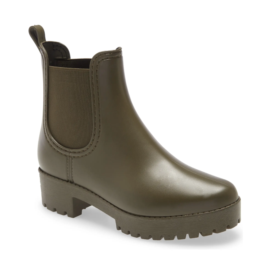 Jeffrey Campbell Cloudy Waterproof Chelsea Rain Boot in Army Green (Photo via Nordstrom)