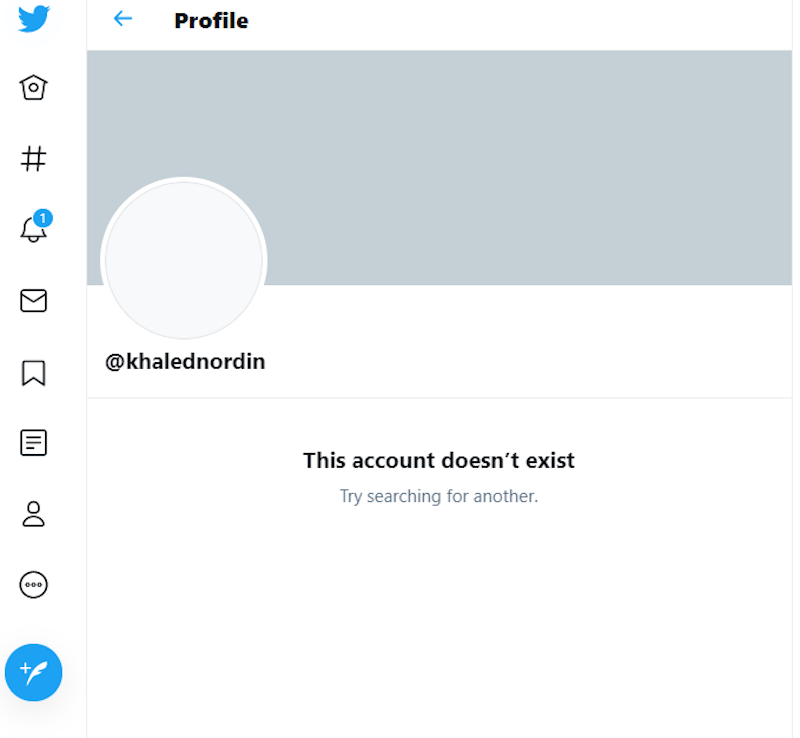 Malay Mail's check this evening was met with this message: 'This account doesn't exist'. Prior to that, it showed he had over 112,600 followers. — Picture via Twitter