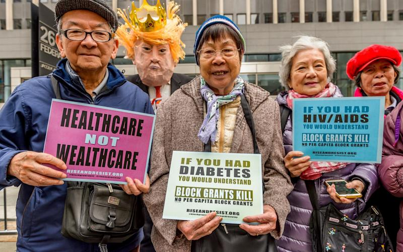 Street theater protesting Trump's Health Plan in New York city, 21 March - Credit: Erik M / Pacific/Barcroft Images