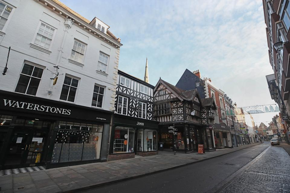 A quiet High Street in Shrewsbury during England's third national lockdown to curb the spread of coronavirus. Under increased measures people can no longer leave their home without a reasonable excuse and schools must shut for most pupils. (Photo by Nick Potts/PA Images via Getty Images)