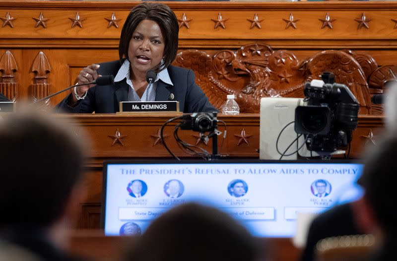 Representative Val Demings, Democrat of Florida, questions witnesses during a House Judiciary Committee hearing on the impeachment of US President Donald Trump on Capitol Hill in Washington