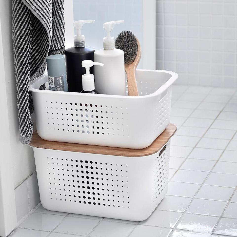 <p>These <span>The Container Store Nordic Storage Baskets With Handles</span> ($8-$10) are stylish and helpful.</p>