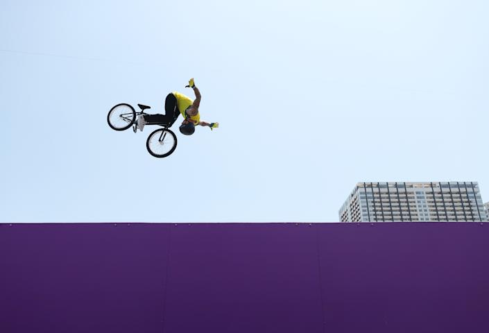 <p>TOKYO, JAPAN - AUGUST 01: Logan Martin of Team Australia competes in the during the Men's Park Final, run 1 of the BMX Freestyle on day nine of the Tokyo 2020 Olympic Games at Ariake Urban Sports Park on August 01, 2021 in Tokyo, Japan. (Photo by Ezra Shaw/Getty Images)</p>