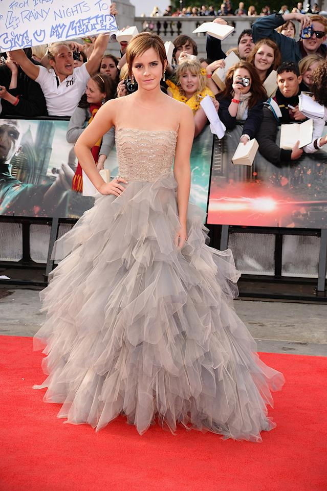 "Emma Watson's frothy Oscar de la Renta gown is all the magic she needs at the premiere of the final ""Harry Potter"" film in London on July 7, 2011."